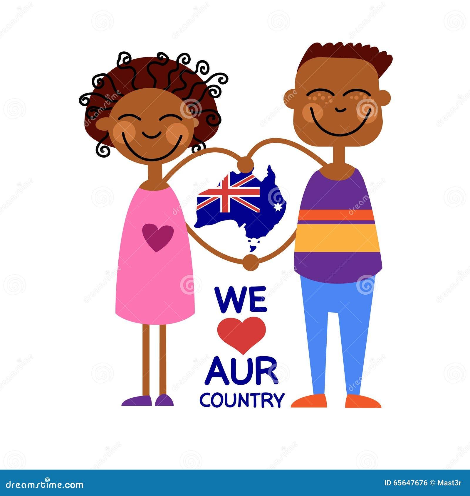 Pays d amour d enfants d enfants de carte de drapeau national de jour d Australie