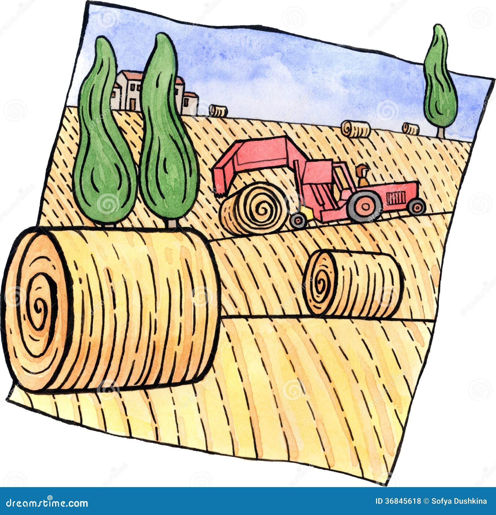 Paysage Avec Des Balles De Foin Et Un Tracteur Photos ...