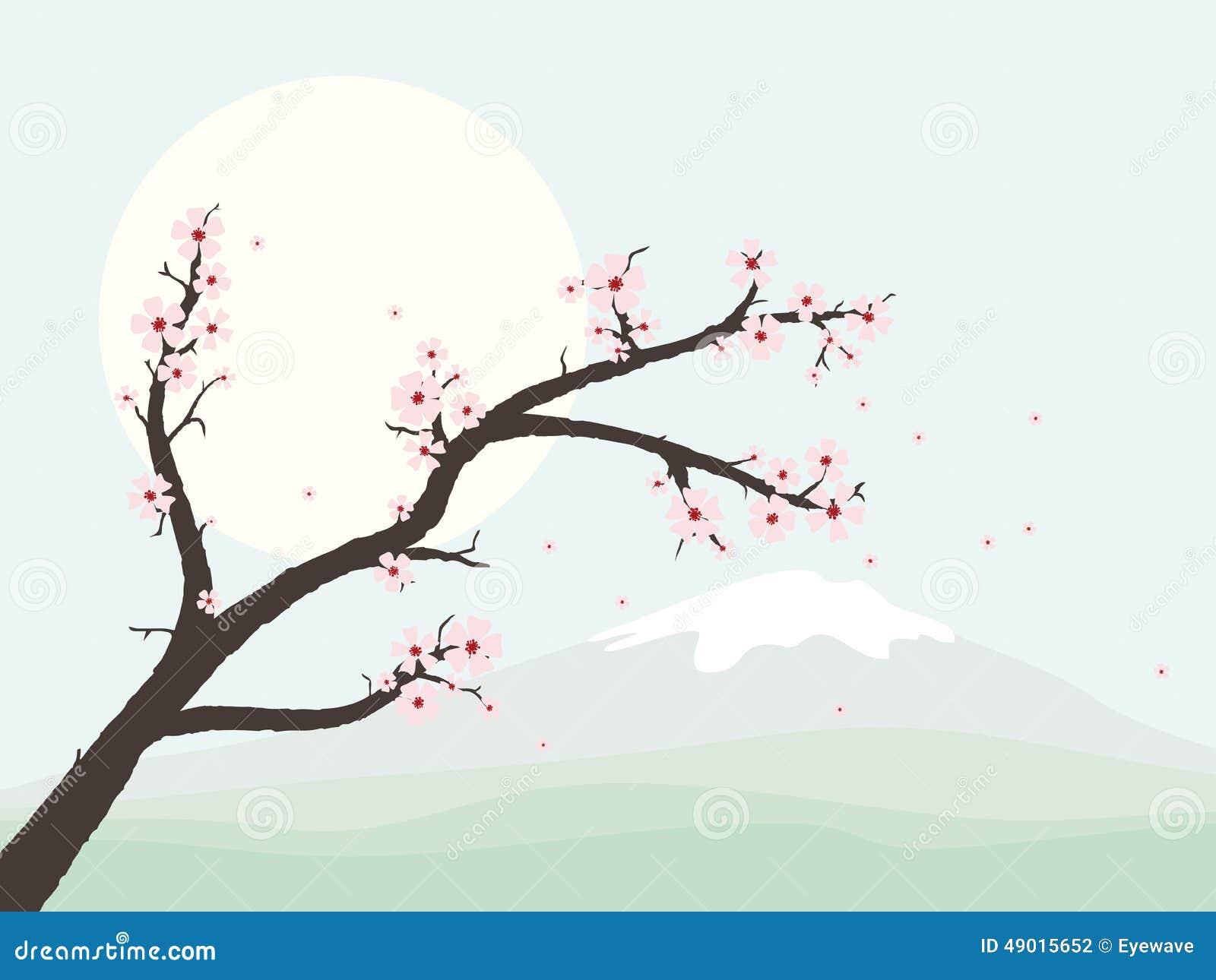 paysage avec l 39 illustration de vecteur de branche de fleurs de cerisier illustration de vecteur. Black Bedroom Furniture Sets. Home Design Ideas
