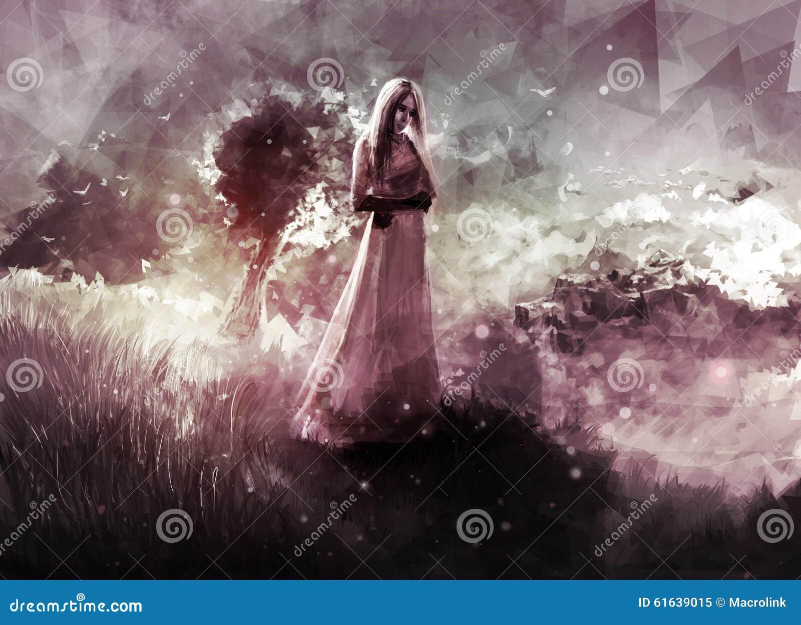 Paysage Avec La Fille Triste Illustration Stock Illustration Du
