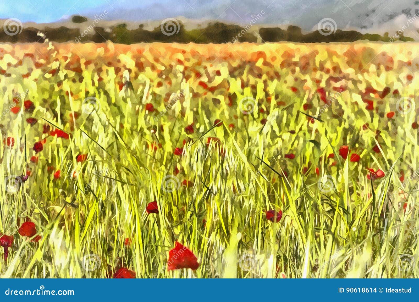 Paysage avec le champ rouge de pavots