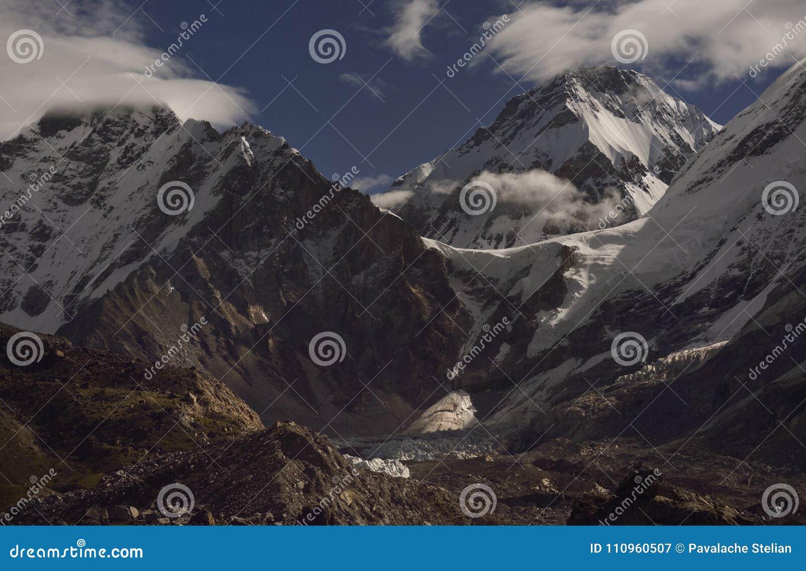 Paysage avec les montagnes de l Himalaya à l arrière-plan sur le chemin au camp de base d Everest,