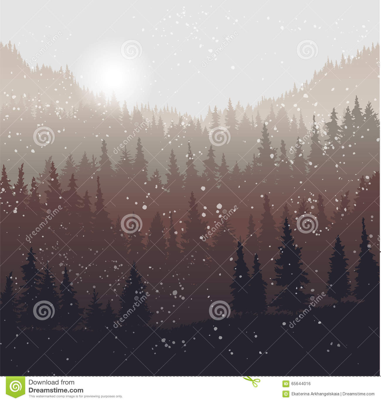 Paysage avec les sapins et la neige