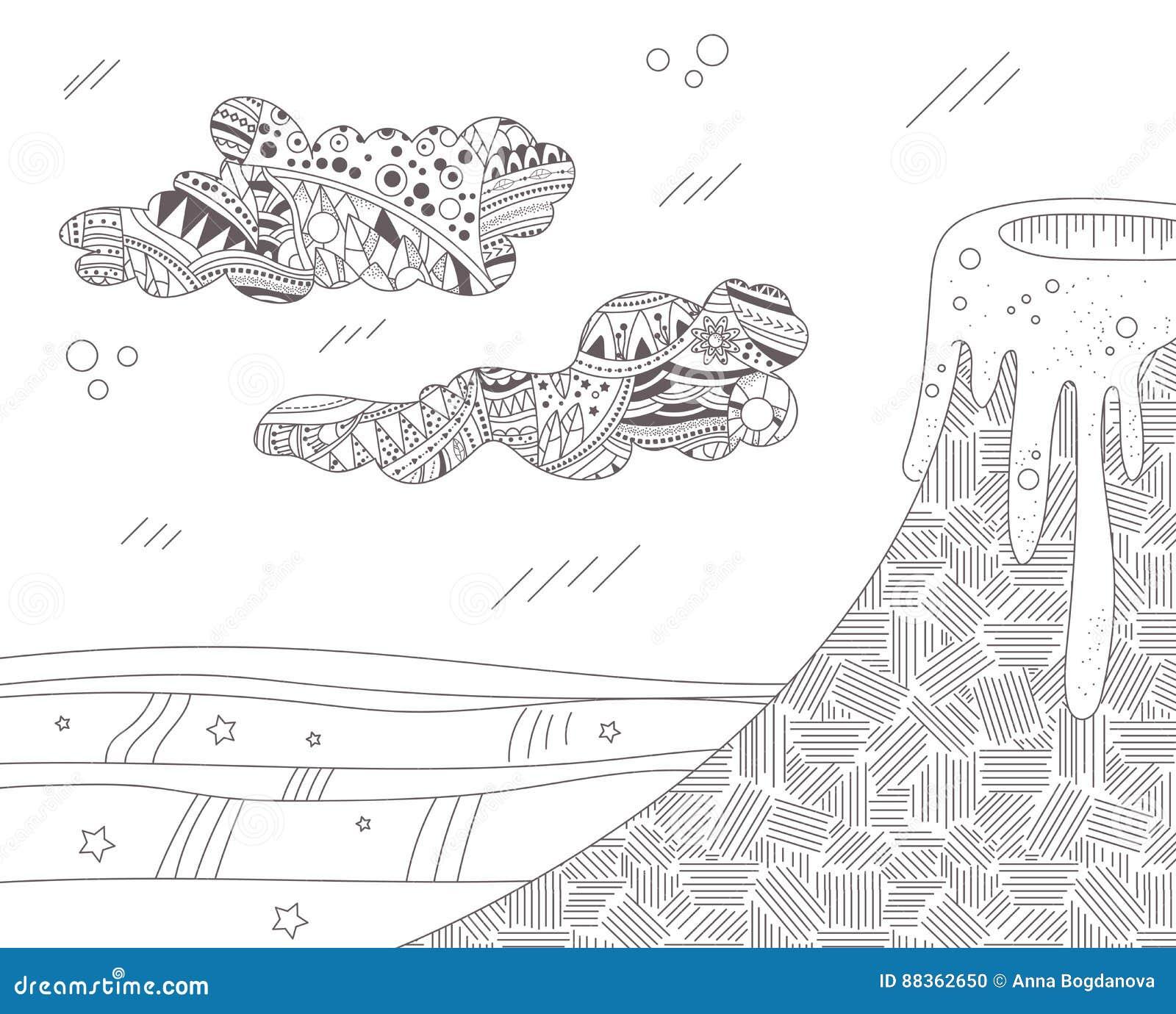 Coloriage Adulte Volcan.Paysage Avec Un Volcan Actif Illustration De Vecteur Illustration