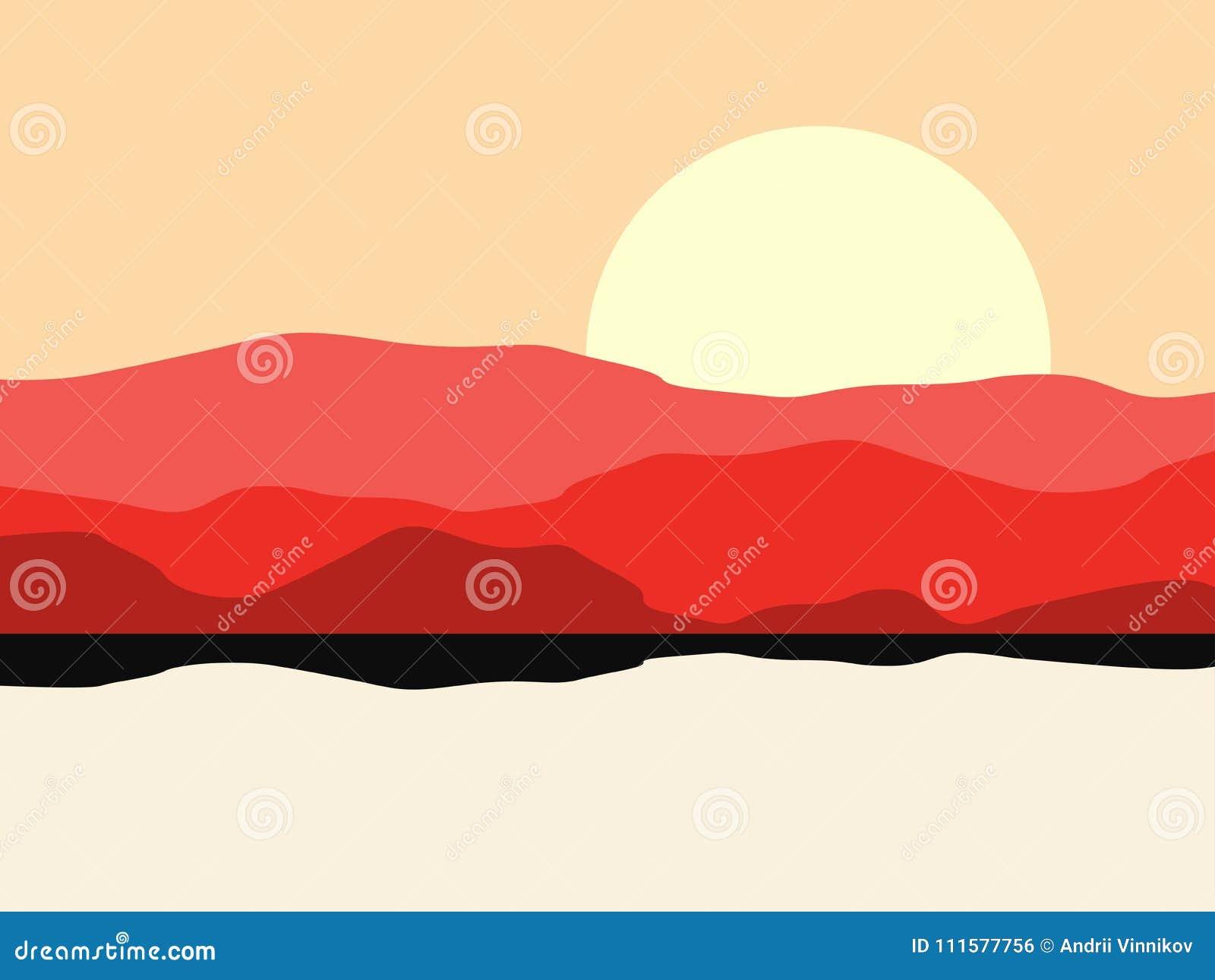 Paysage chaud de désert avec une silhouette de montagne Horizontal panoramique avec des côtes Vecteur