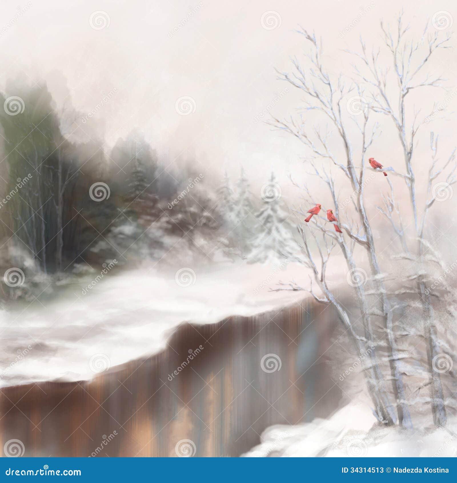Photos stock: Paysage d aquarelle d oiseaux de rivière d hiver en ...