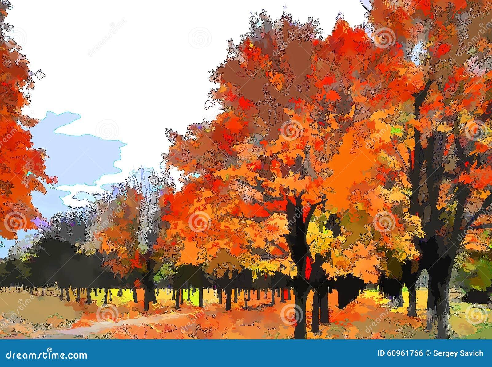 Paysage d 39 automne d 39 art comme peinture l 39 huile grunge photo stock image du abondant - Paysage d automne dessin ...