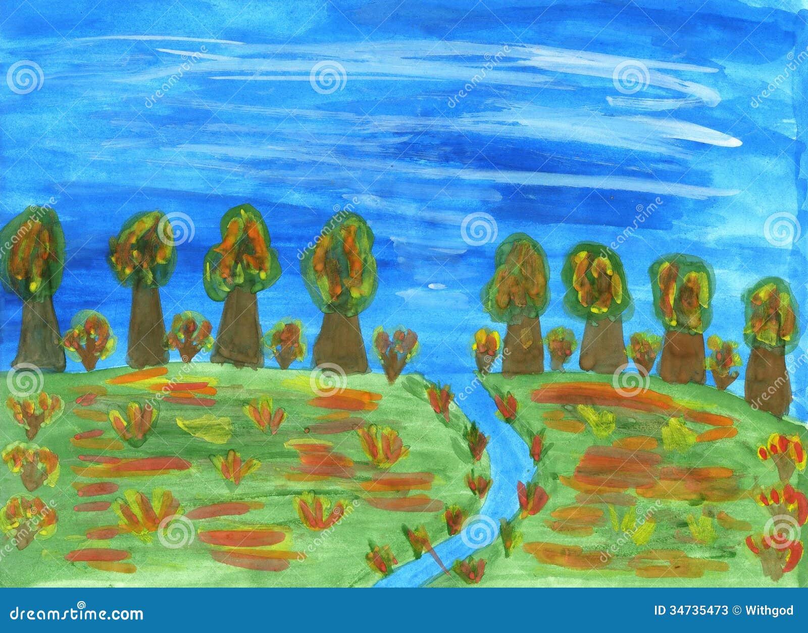 Paysage d 39 automne dessin d 39 enfants image stock image du outdoors illustration 34735473 - Paysage d automne dessin ...