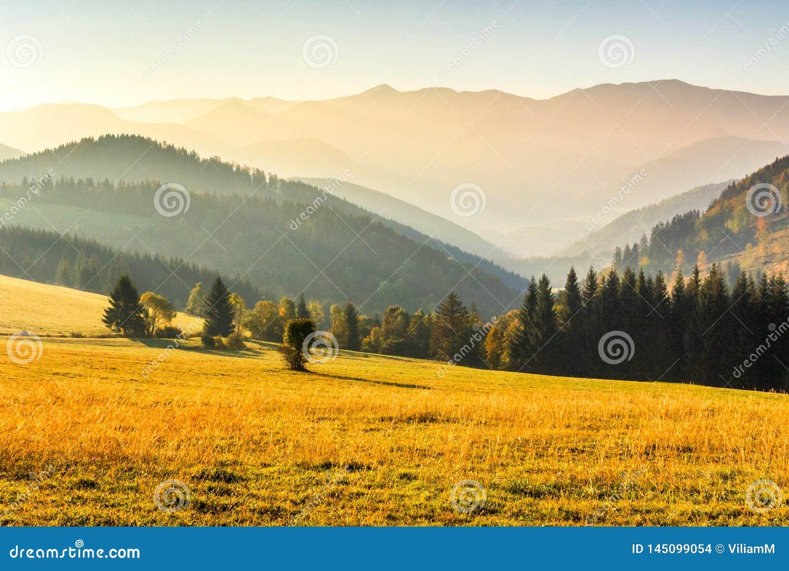 Paysage d automne, lever de soleil dans un matin brumeux