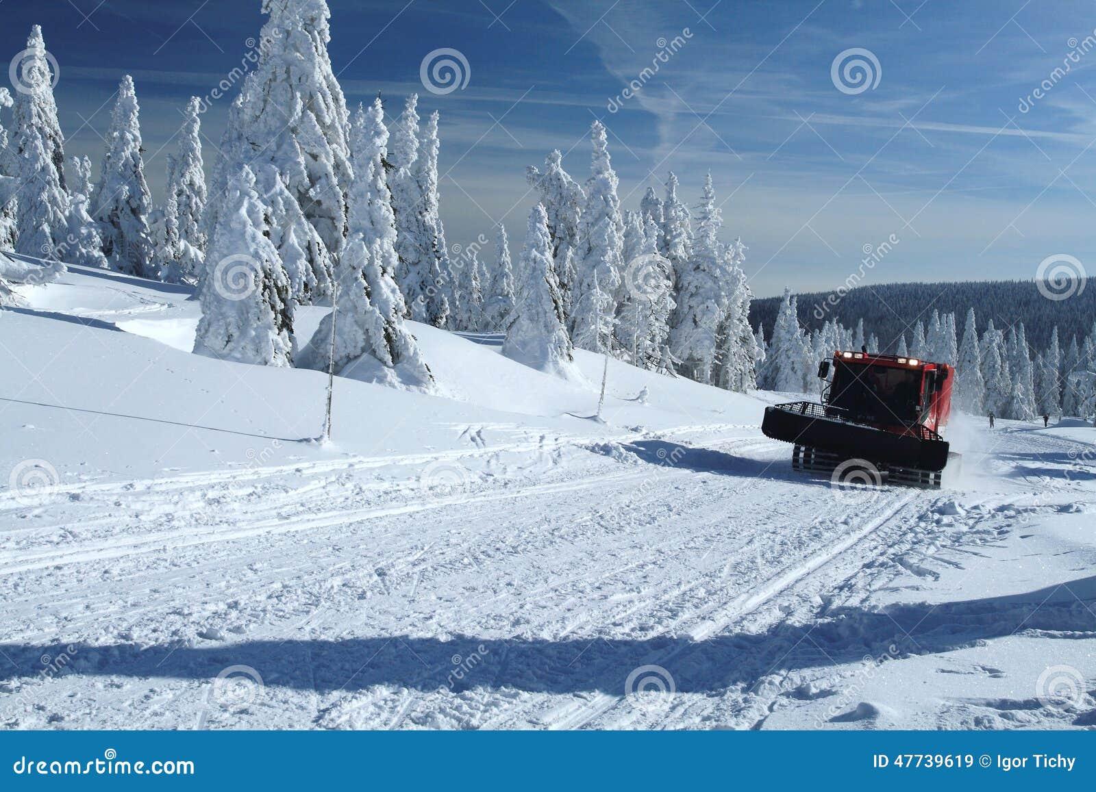 paysage d 39 hiver avec un chat de neige image stock image du toilettez montagne 47739619. Black Bedroom Furniture Sets. Home Design Ideas