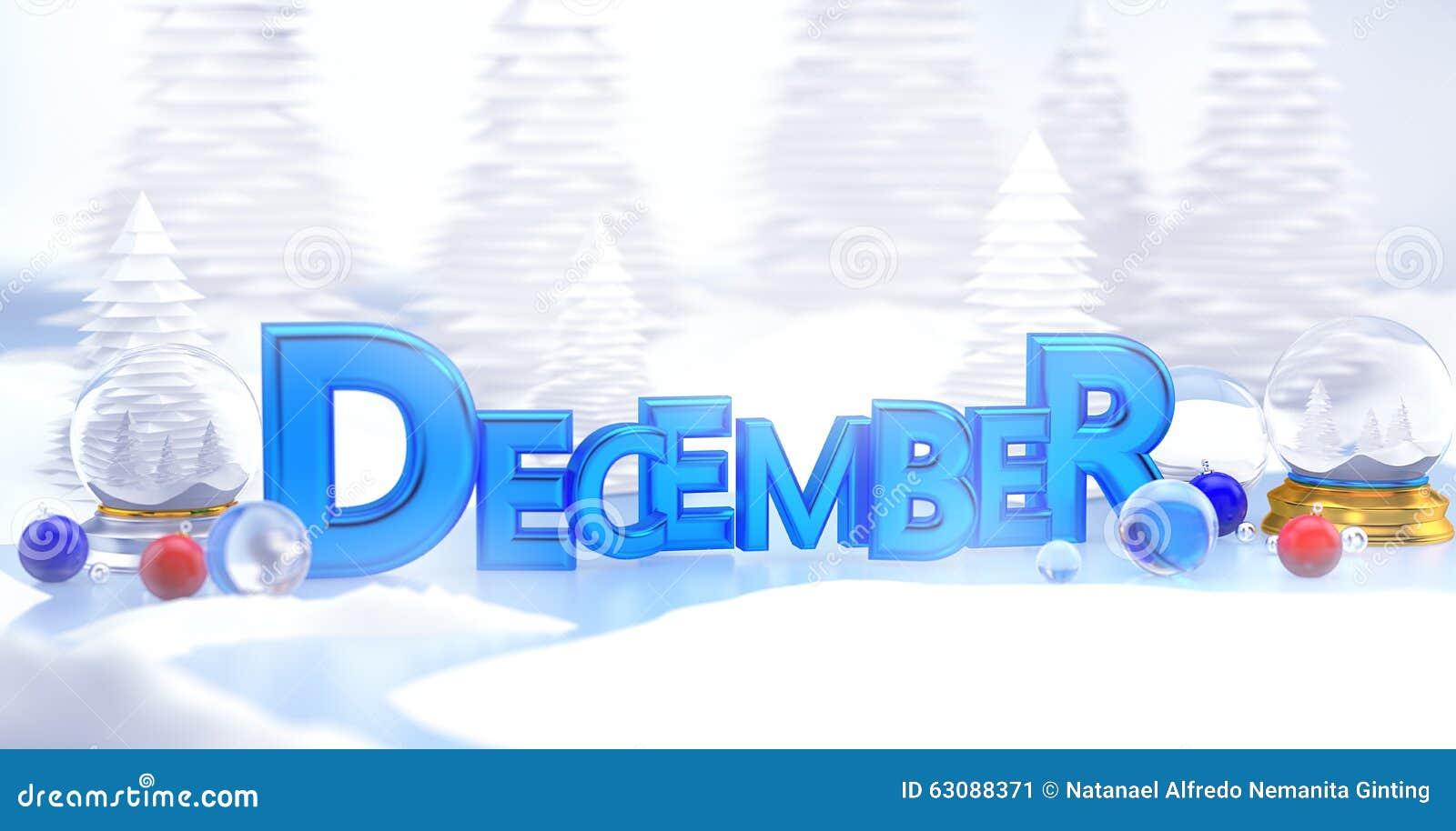 Download Paysage D'hiver De La Typographie 3D De Décembre Illustration Stock - Illustration du digital, ornement: 63088371