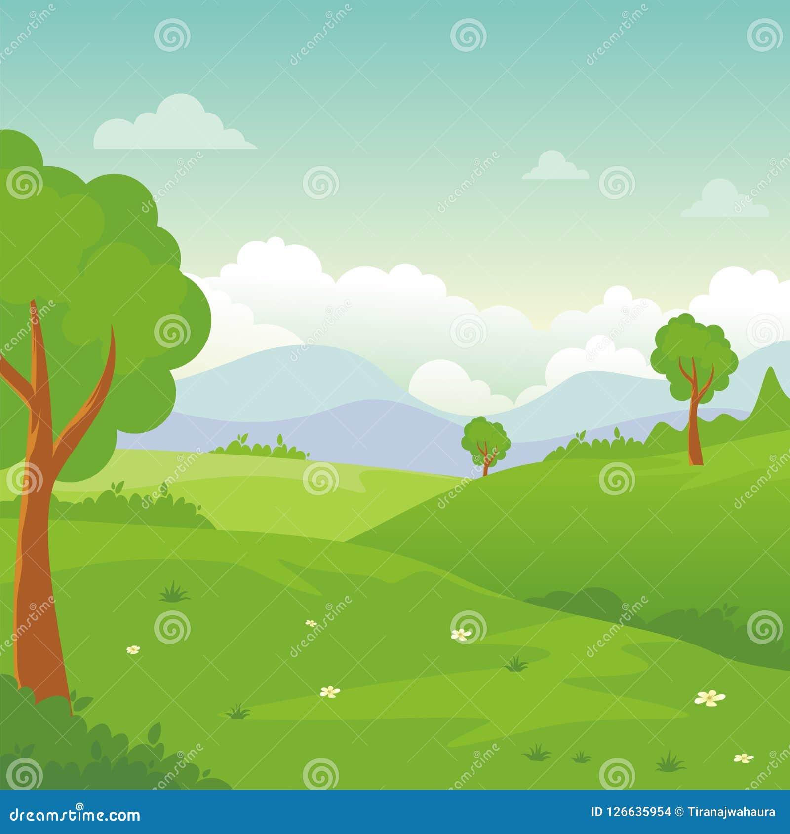 Paysage de bande dessinée, avec la belle et mignonne conception de paysage