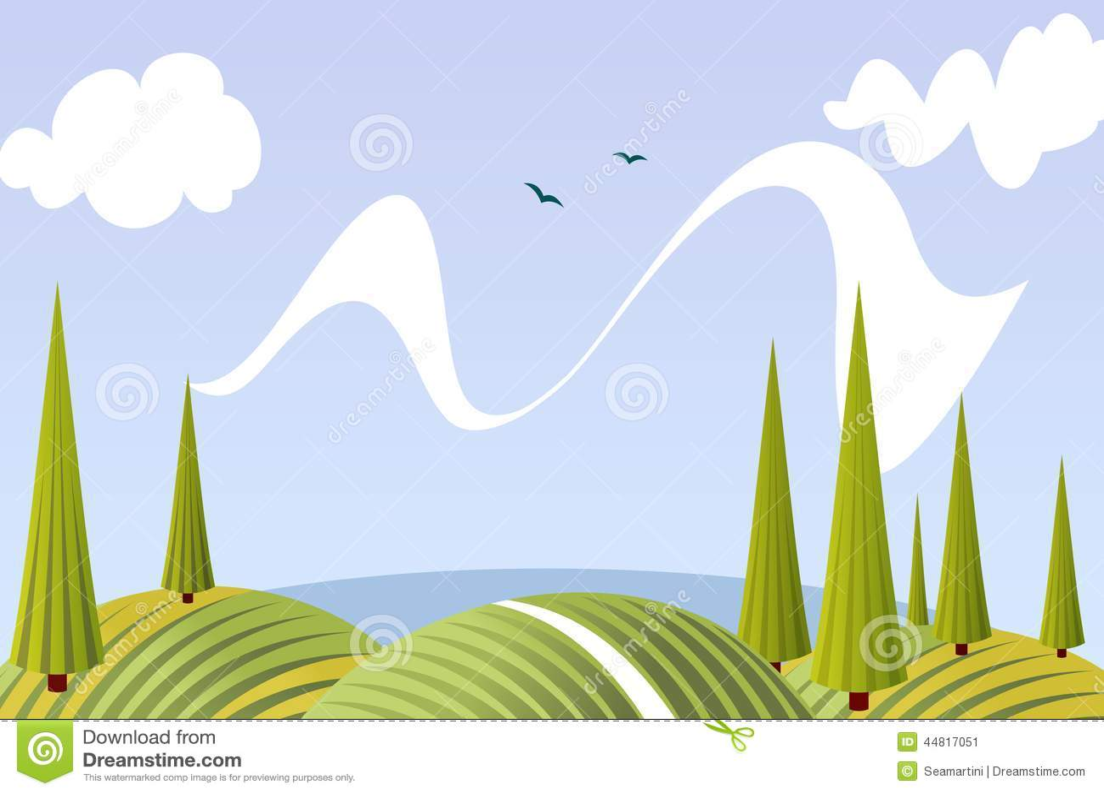 paysage de champs et de pr s d 39 t de bande dessin e illustration de vecteur image 44817051. Black Bedroom Furniture Sets. Home Design Ideas