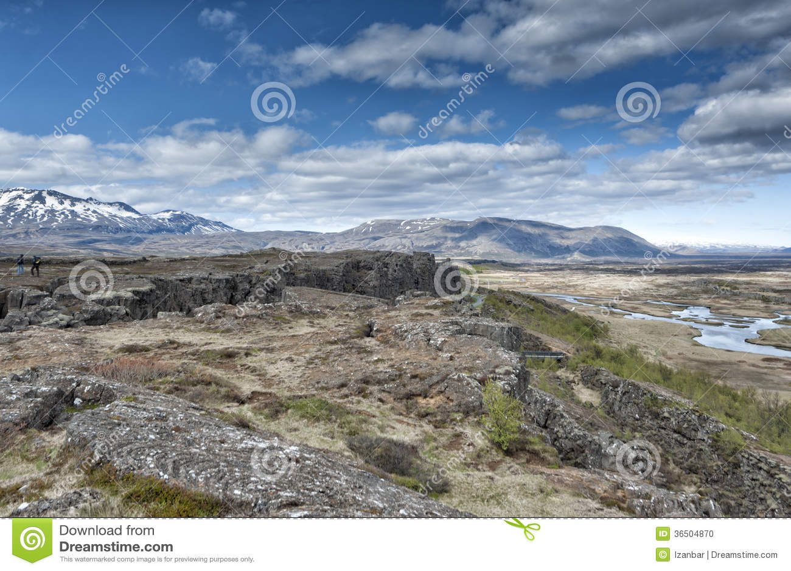 Paysage de fracture de la terre de Pingvellir Islande