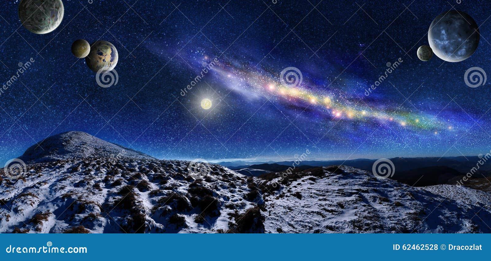 Paysage de l 39 espace de nuit illustration stock image for Paysage espace