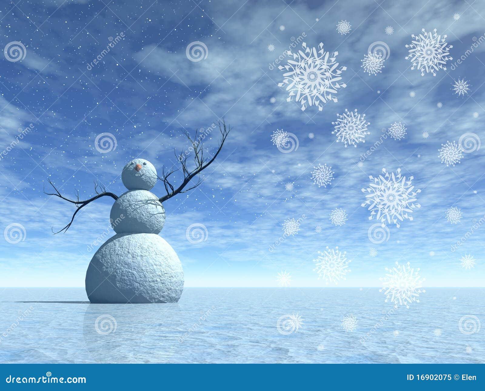 Paysage de l 39 hiver avec le bonhomme de neige illustration - Photos de neige gratuites ...
