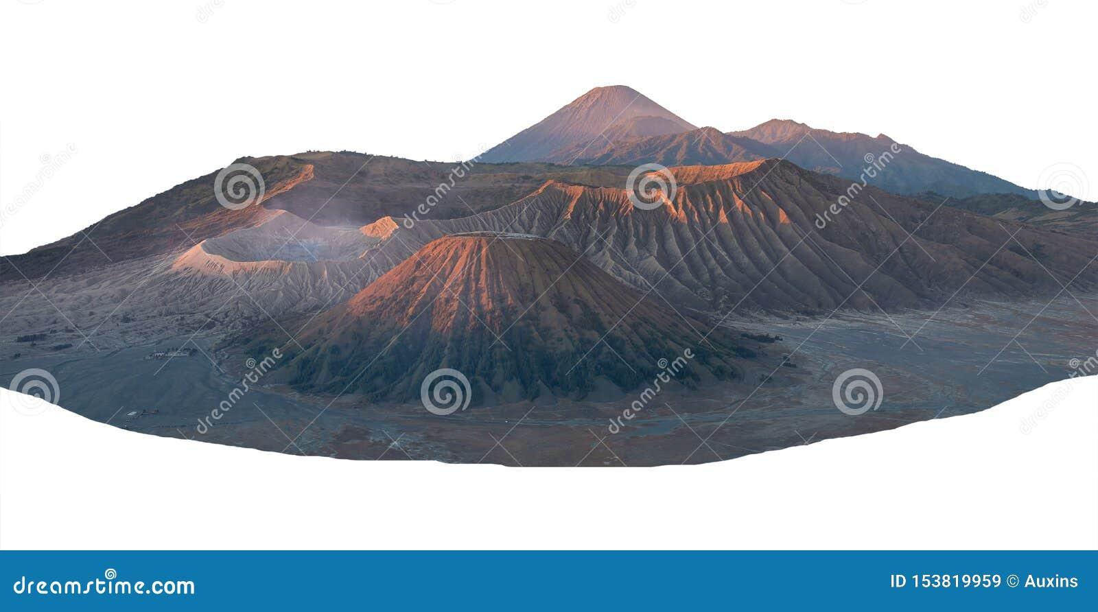 Paysage de la montagne maximale de Bromo d isolement sur blanc avec le chemin de coupure