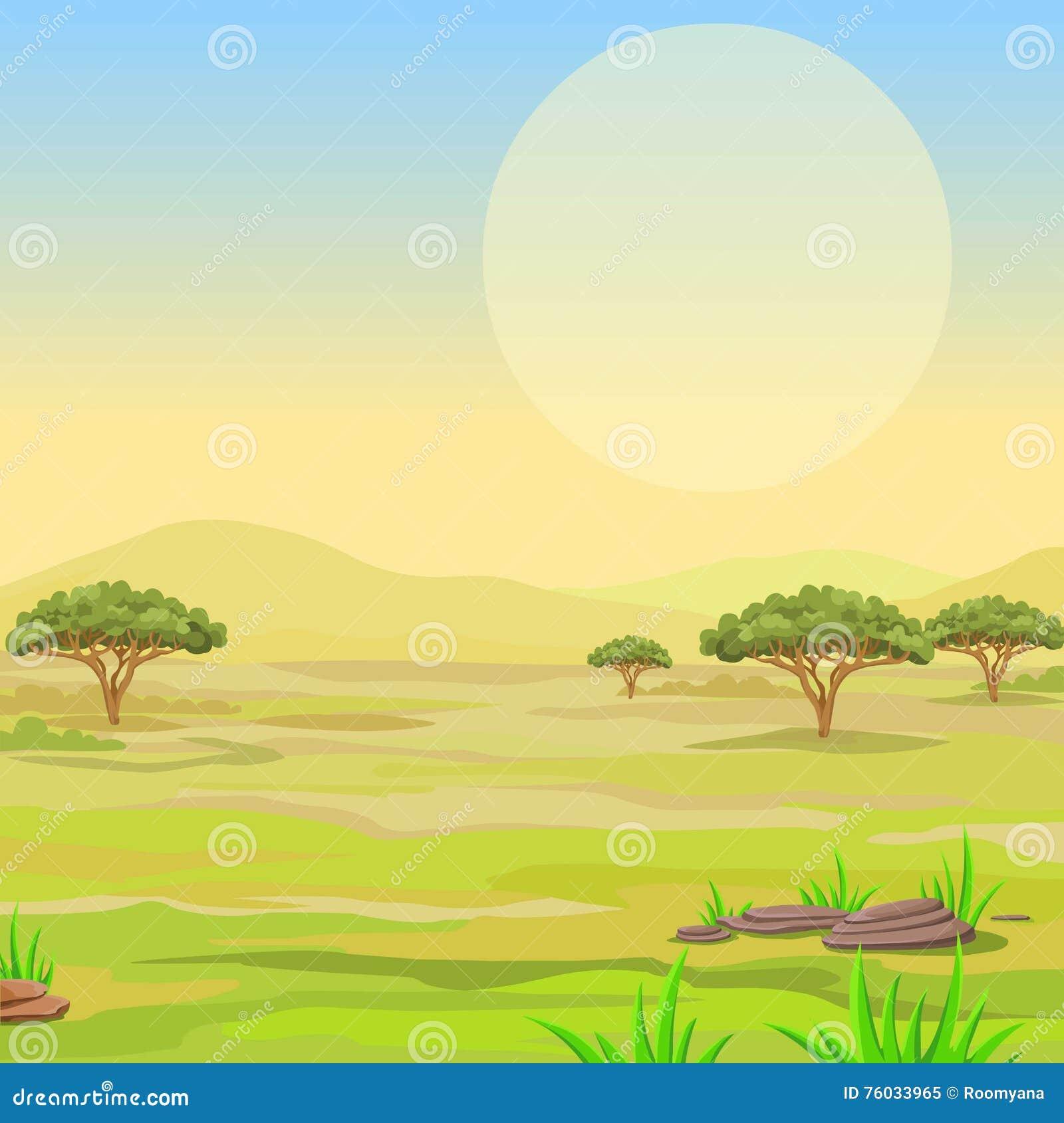 Paysage de la savane africaine illustration de vecteur - La savane dessin ...