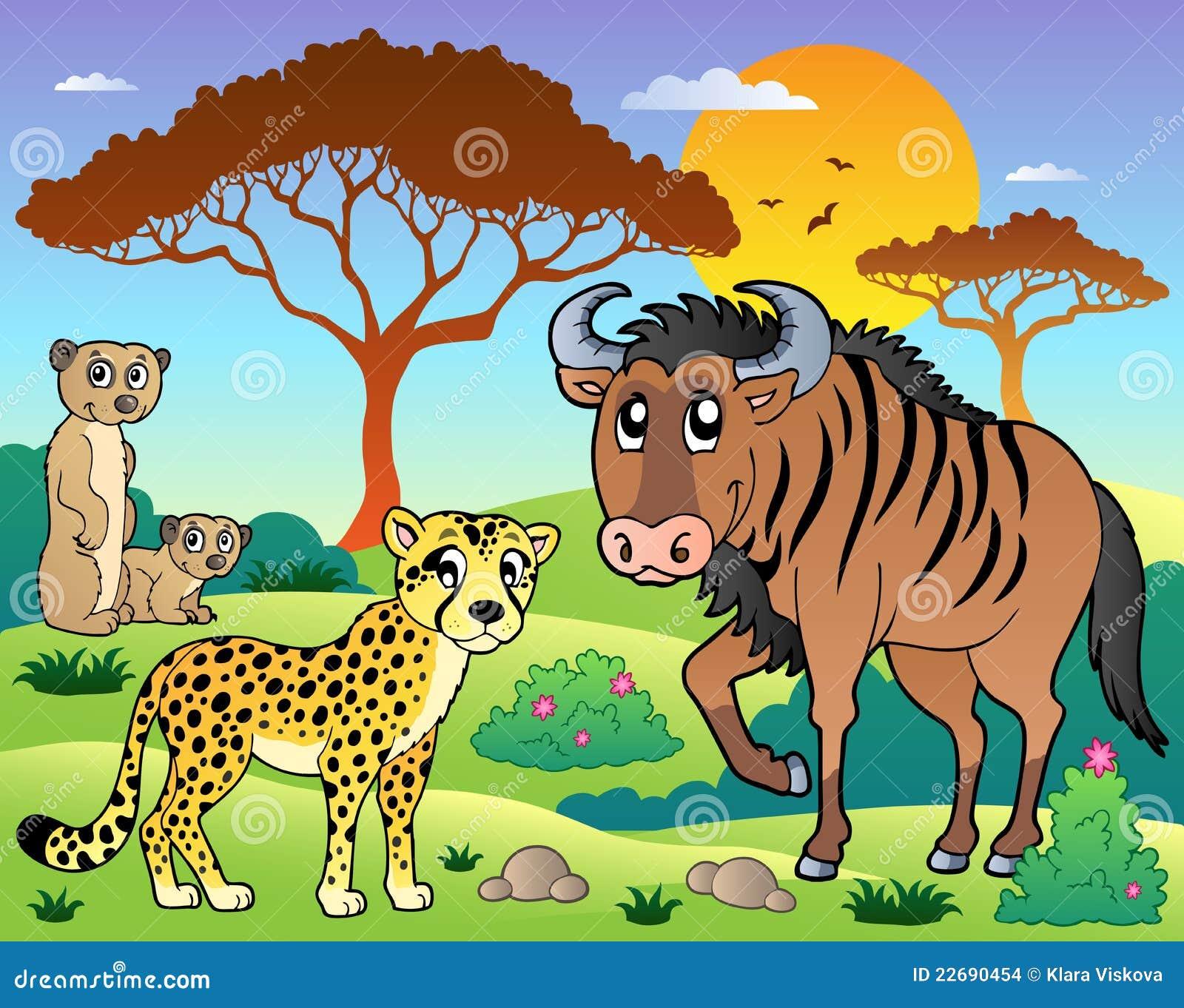 Paysage de la savane avec les animaux 5 illustration de - Felin de la savane ...
