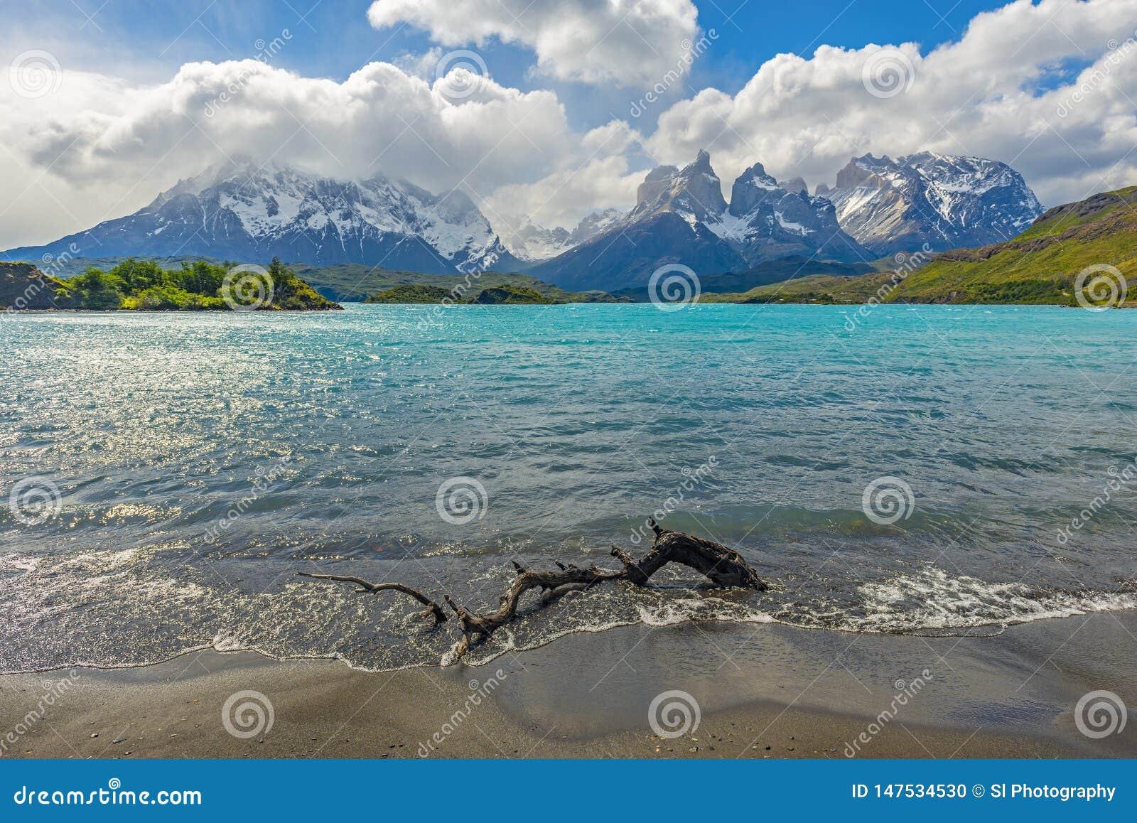 Paysage de lac Pehoe, Patagonia, Chili