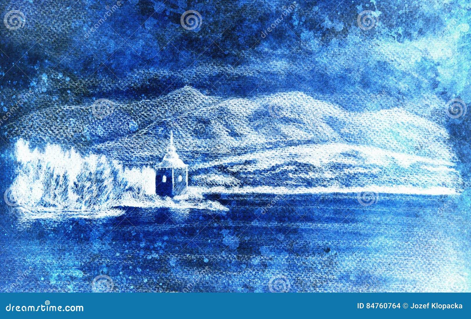 Paysage De Landcsape Avec Le Lac La Chapelle Et Les Montagnes