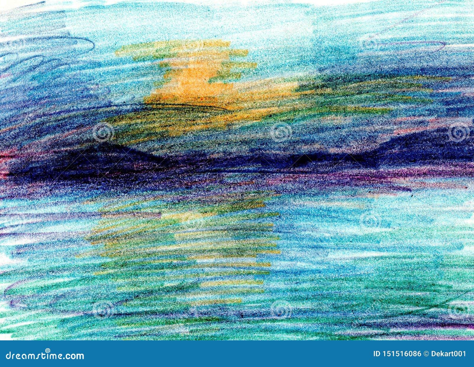 Paysage De Mer Cote De Mer Plage Les Beaux Crayons De Couleur Remettent L Illustration De Peinture Photo Stock Image Du Crayons Paysage 151516086