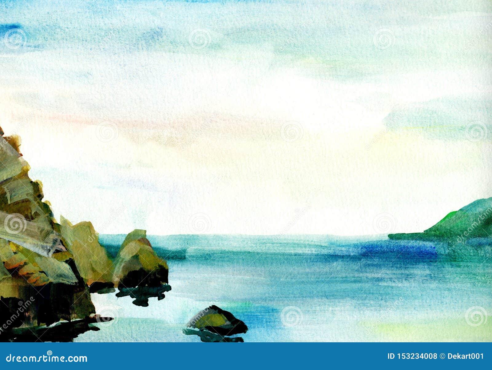 Paysage De Mer Cote De Mer Plage Montagnes Roches Belle Illustration De Peinture De Main D Aquarelle Illustration Stock Illustration Du Belle Peinture 153234008