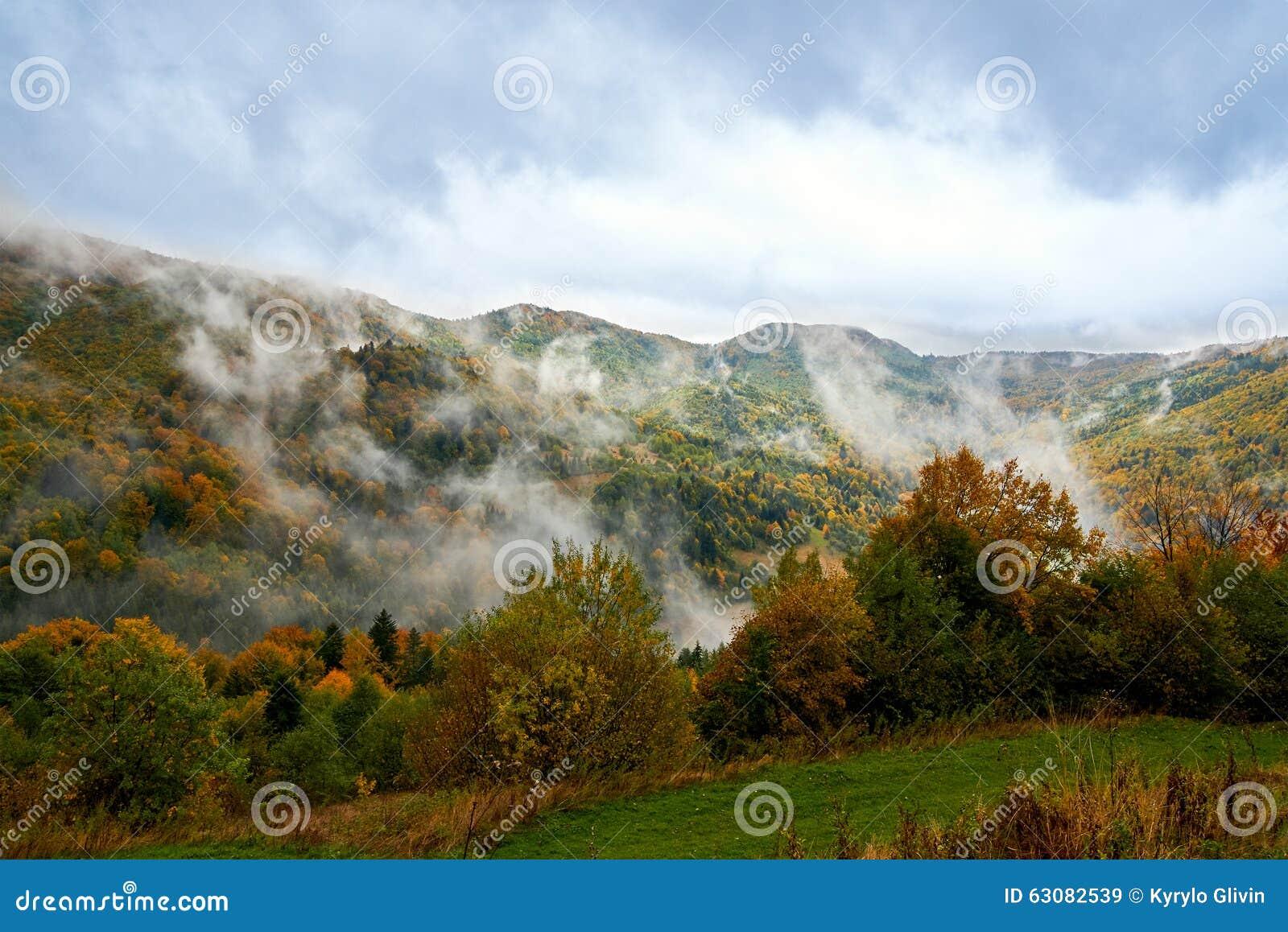 Download Paysage De Montagne Avec Des Nuages Et Des Arbres Colorés Image stock - Image du fond, vert: 63082539