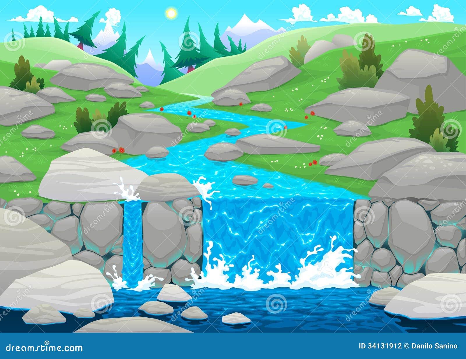 waterfall stream clip art