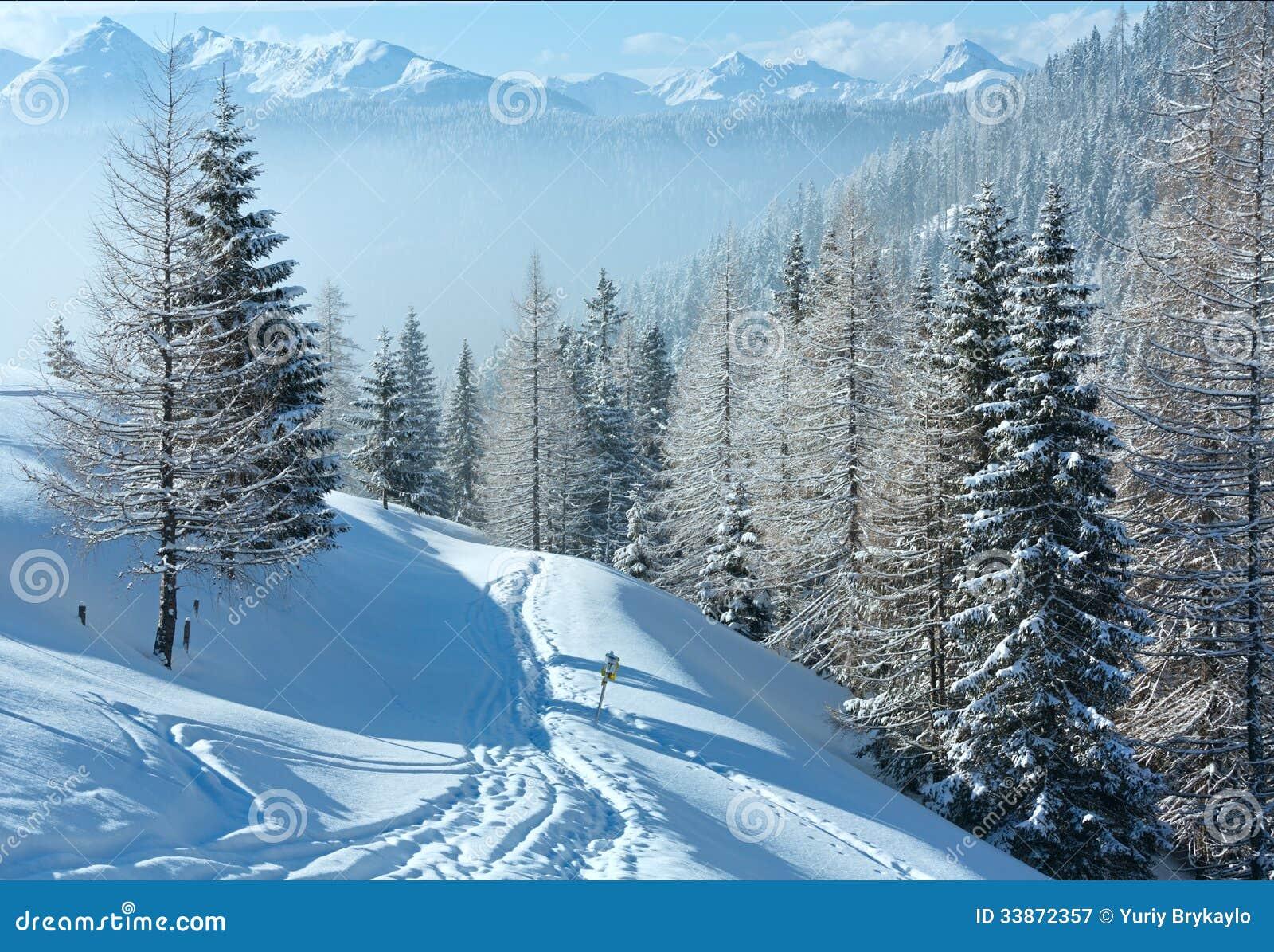 paysage de montagne brumeuse d 39 hiver de matin image stock image du calme brumeux 33872357. Black Bedroom Furniture Sets. Home Design Ideas