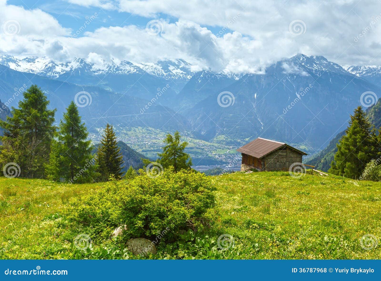 paysage de montagne d 39 t alpes suisse photos libres de droits image 36787968. Black Bedroom Furniture Sets. Home Design Ideas