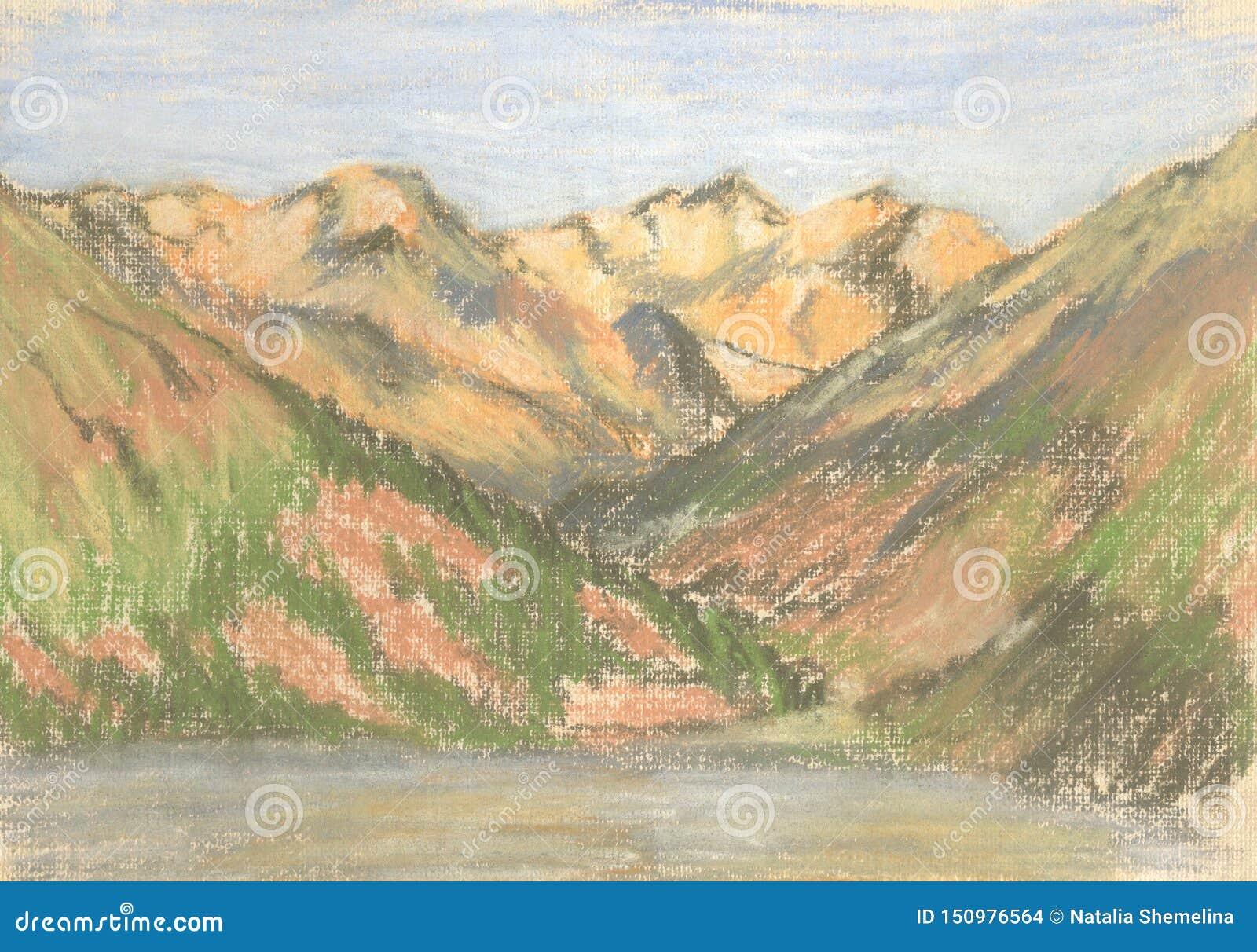 Paysage de montagne, montagnes de dessin en pastel sur l horizon