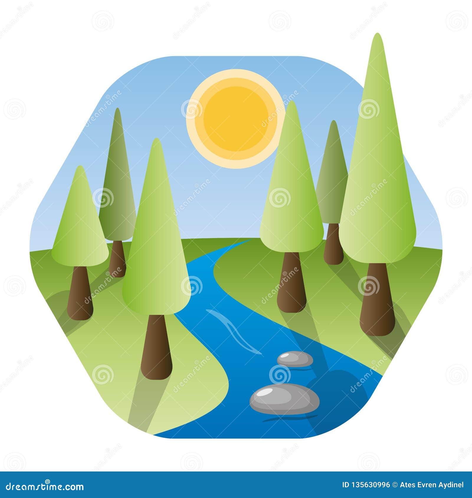 Paysage de nature avec la rivière, le soleil brillant, et les arbres