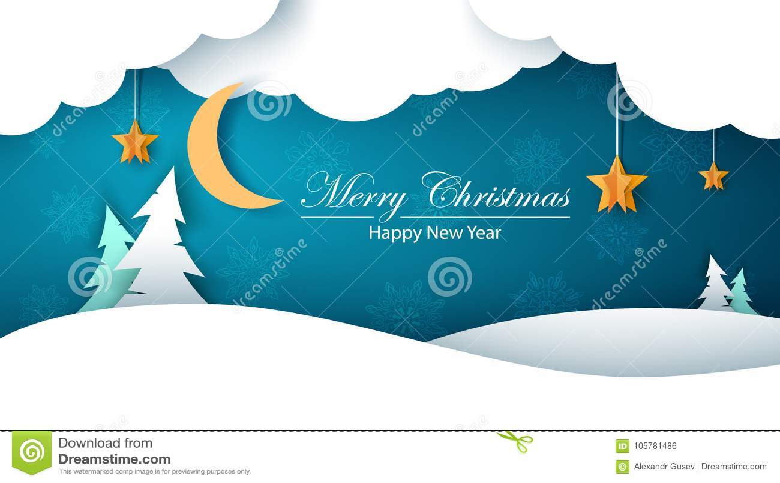 Paysage de papier de bande dessinée d hiver Sapin, lune, nuage, étoile, neige Joyeux Christmass An neuf heureux