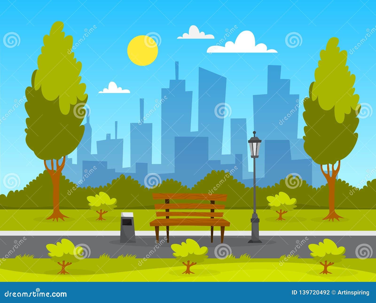 Paysage de parc de ville Herbe verte, banc et arbres