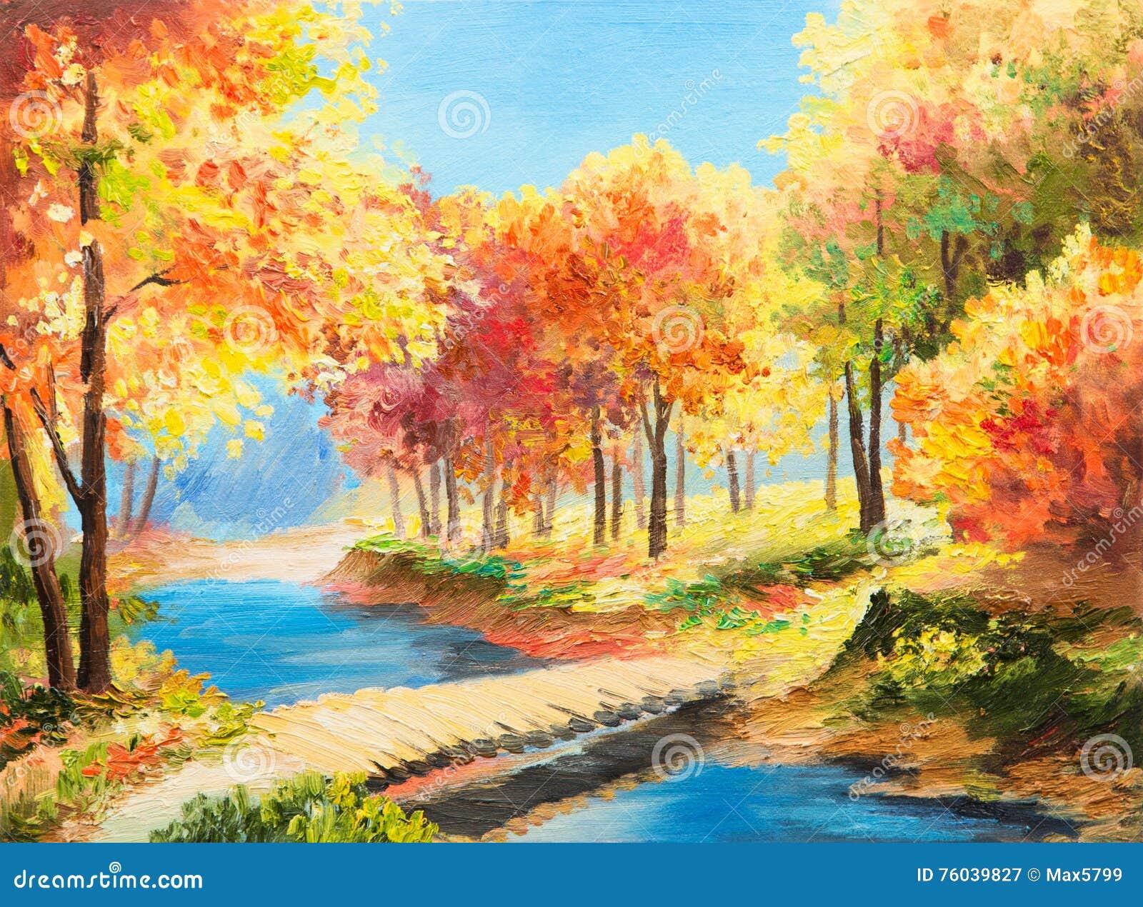 Paysage De Peinture à L'huile - Forêt Colorée D'automne Illustration Stock - Illustration du ...