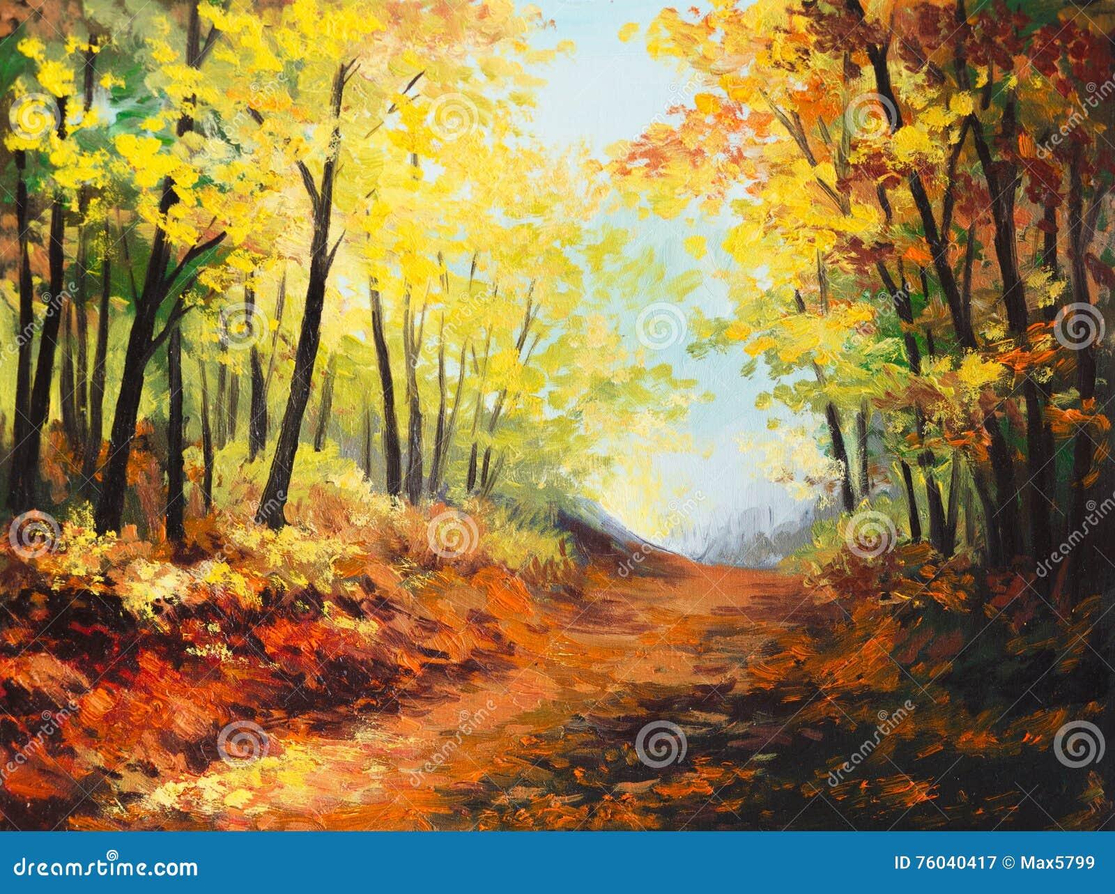 Paysage de peinture l 39 huile for t color e d 39 automne illustration stock illustration du - Paysage d automne dessin ...