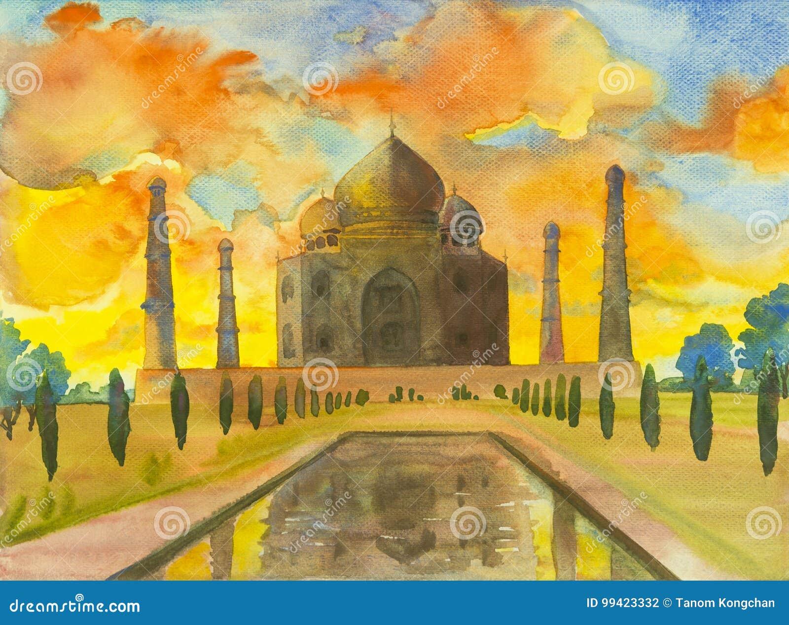 Paysage de peinture d aquarelle de site archéologique dans le Taj Mahal
