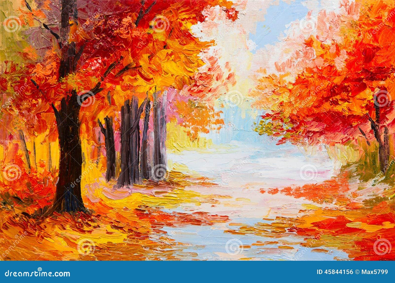 paysage de peinture l 39 huile for t color e d 39 automne illustration stock image 45844156. Black Bedroom Furniture Sets. Home Design Ideas