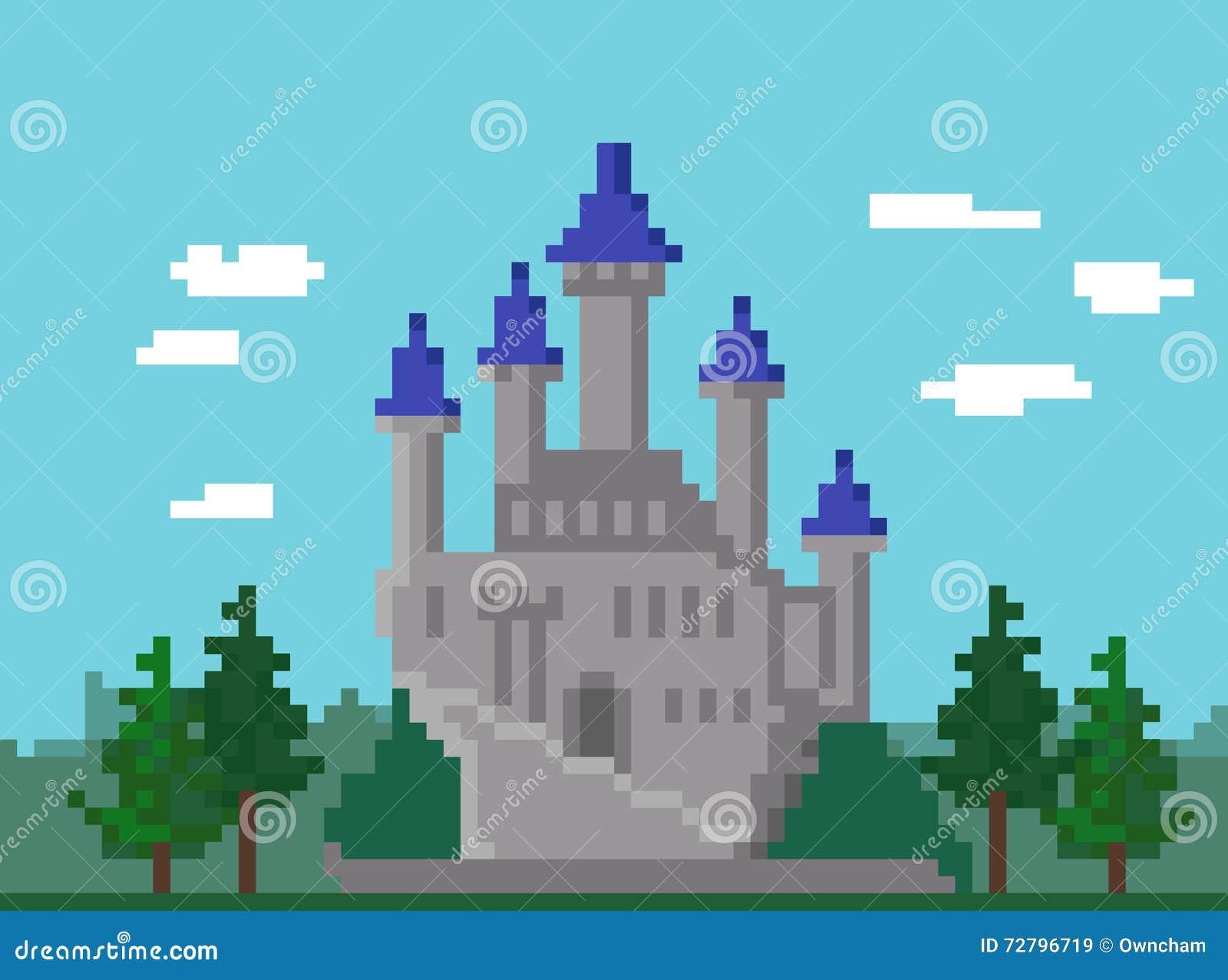 paysage de pixel avec le ch teau illustration de vecteur illustration du vert royaume 72796719. Black Bedroom Furniture Sets. Home Design Ideas