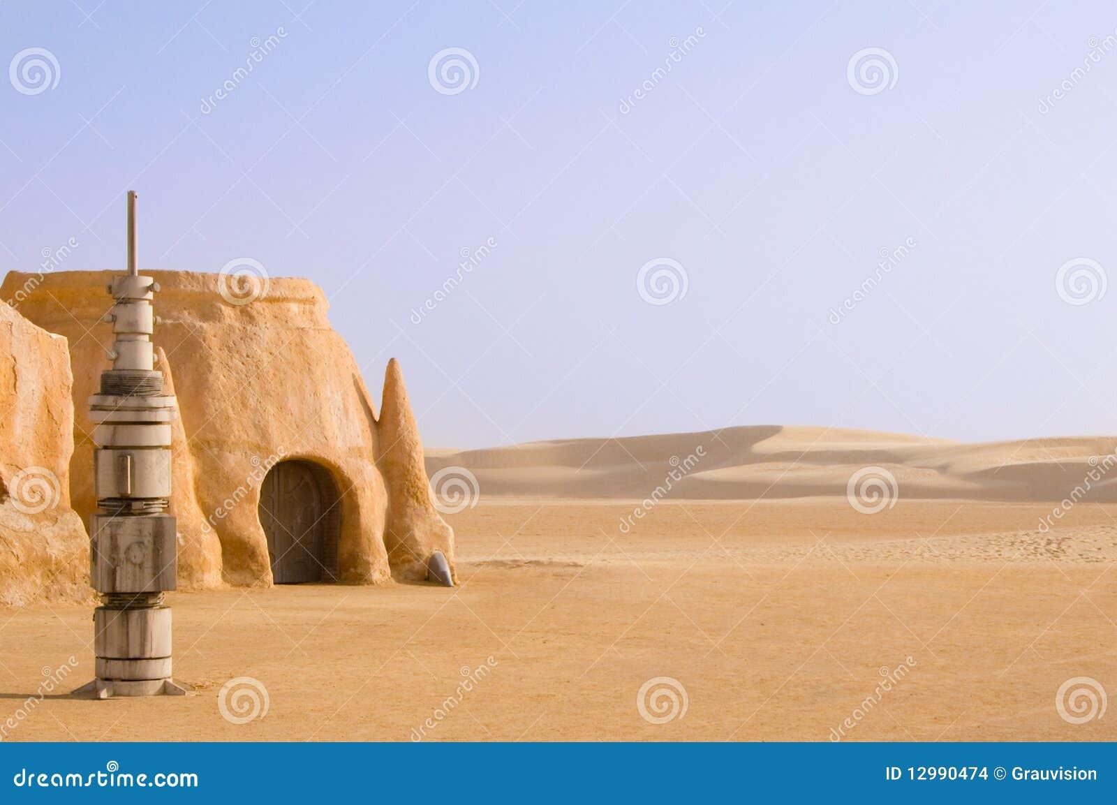 Paysage de tataouine sur un fond des dunes de sable photo - Paysage star wars ...