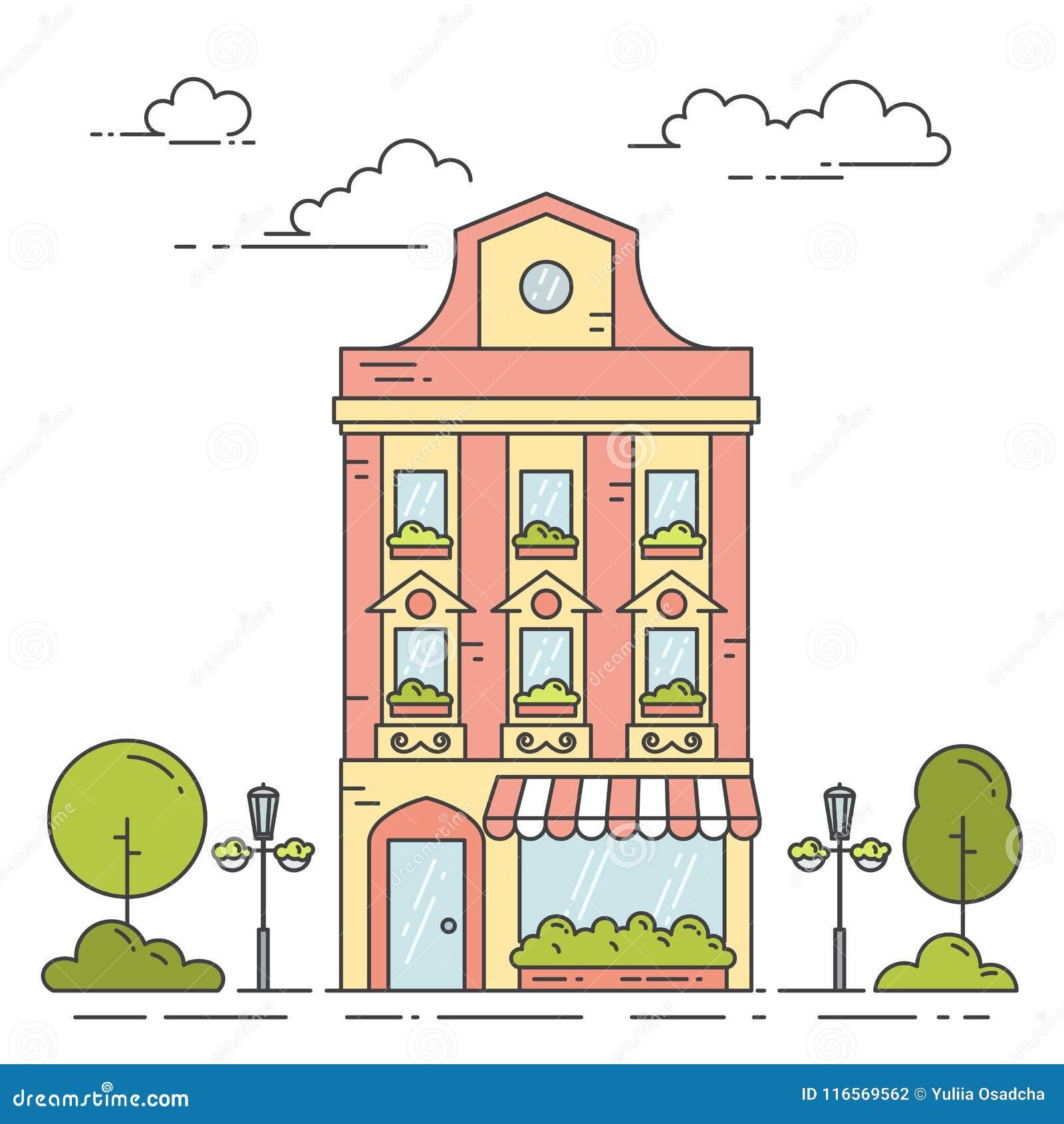 Populaire préféré Paysage De Ville Avec La Rétro Maison, Les Arbres Et Les Nuages &QL_32