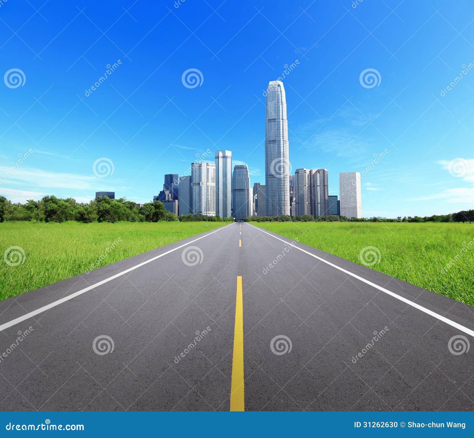 Paysage de ville avec les arbres et la route photo stock for Paysage de ville