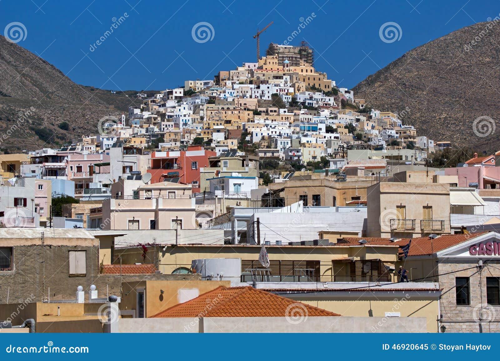 Paysage de ville d 39 ermoupoli syros les de cyclades for Paysage de ville