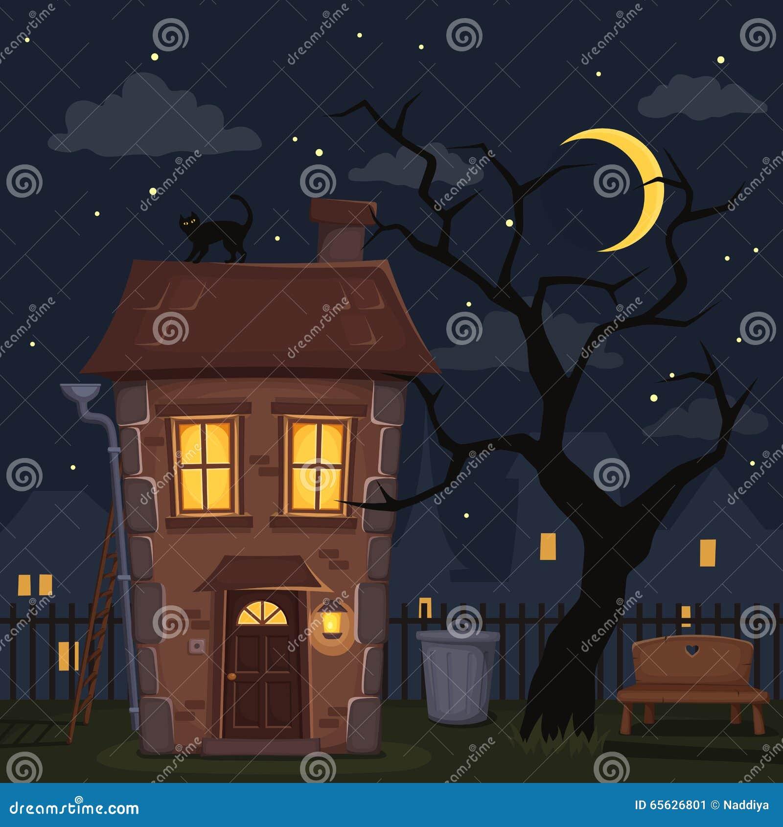 Paysage de ville de nuit avec la maison et l arbre Illustration de vecteur
