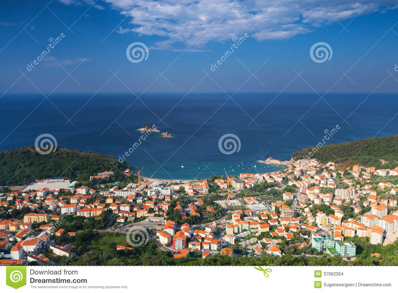 Paysage de ville de petrovac mont n gro photo stock for Paysage de ville