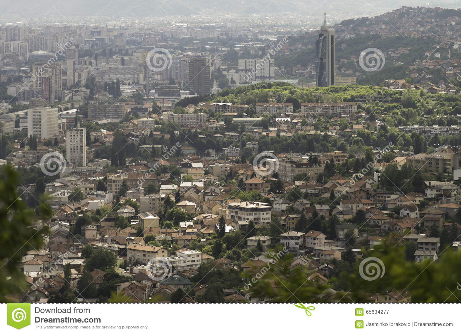 Paysage de ville de Sarajevo d en haut