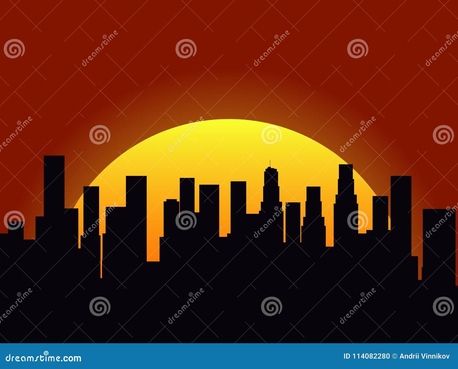 Paysage de ville sur un fond de coucher du soleil silhouette des gratte ciel et des gratte ciel - Pourquoi un coup de soleil gratte ...