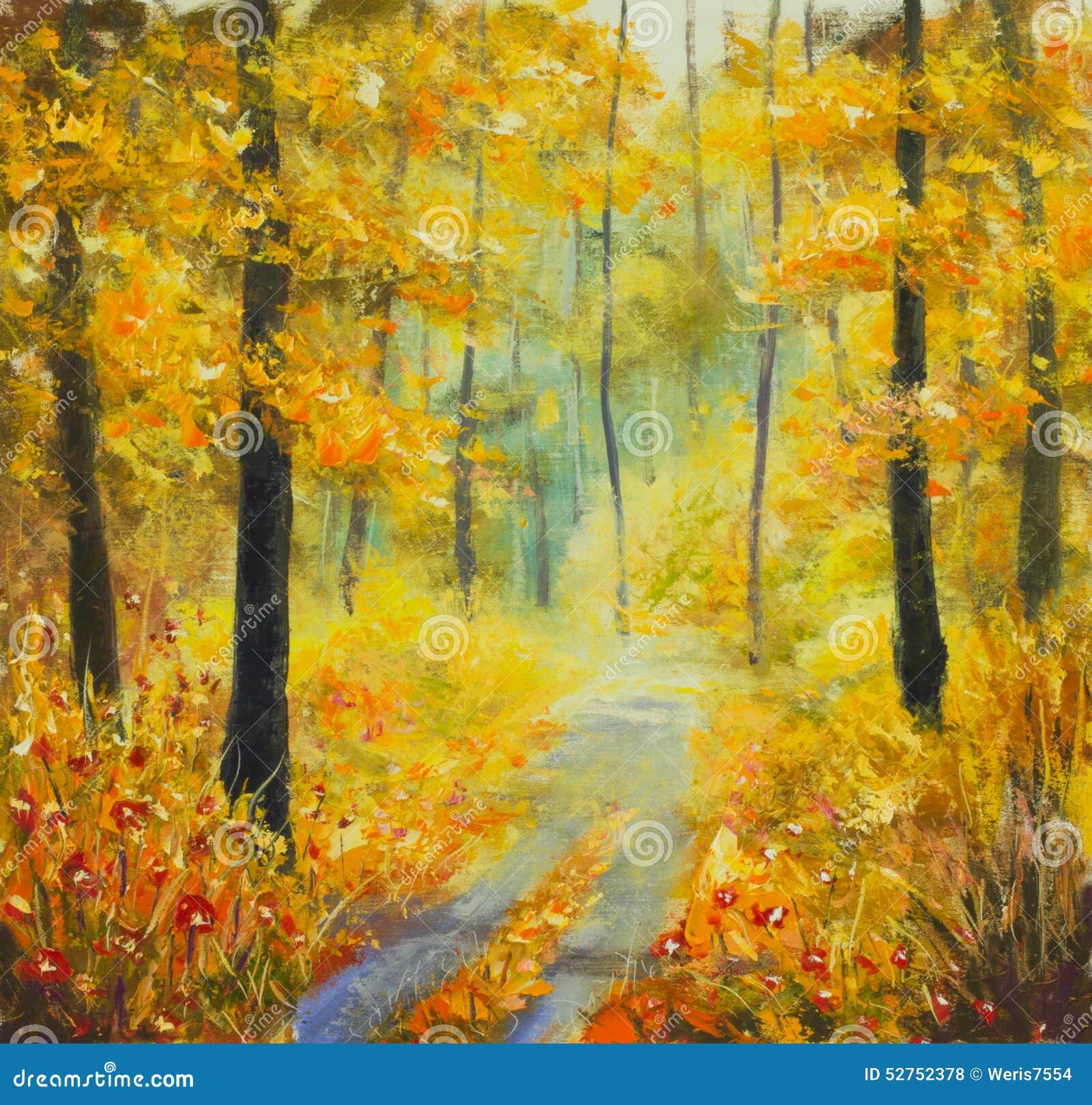 Paysage ensoleill original de for t de peinture l 39 huile belle route solaire dans les bois - Peinture a l huile sur bois ...