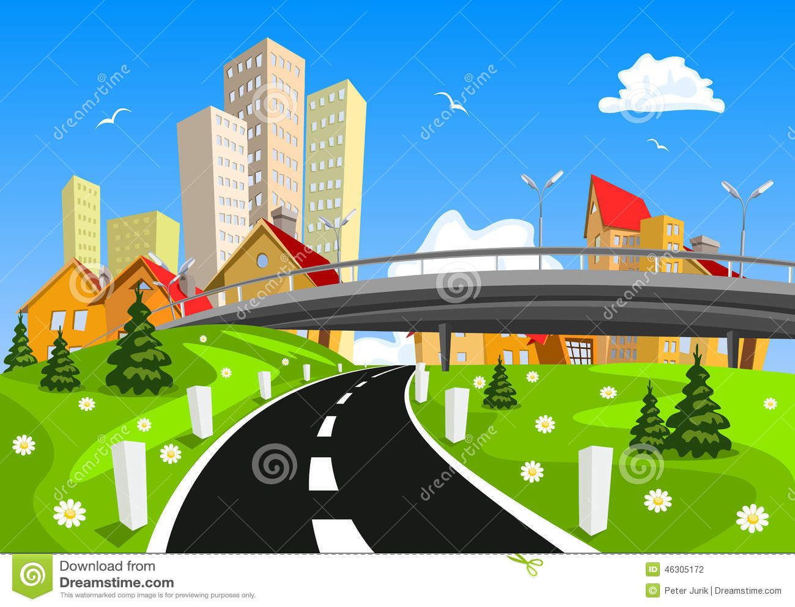 Paysage entouré par ville de vecteur par nature avec le pont
